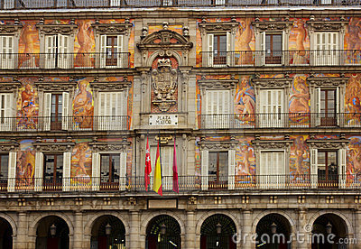 Facade of old building on Plaza Mayor