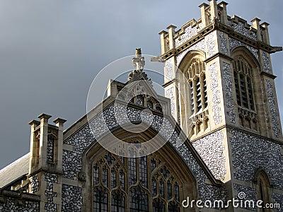 Facade of old English church