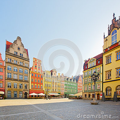 Facade of old houses, Wroclaw