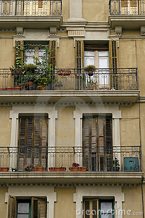 Facade of an old house in Barcelona, Spain