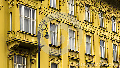 Facade of the old town building in zagreb