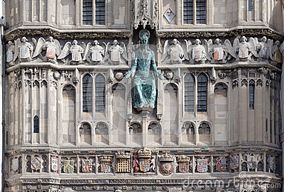 Facade of outside entrance of Canterbury Cathedral, Kent, England