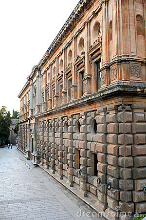 Facade of the palace of Charles V in Granada
