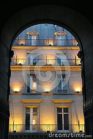 Facade in Paris - evening