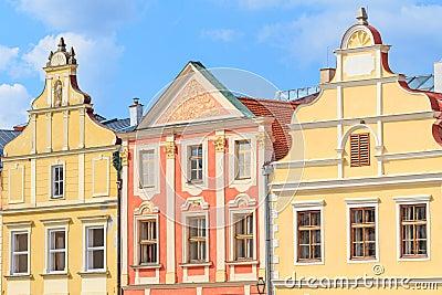 Facade of Renaissance houses in Telc, Czech Republic (a UNESCO w