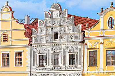 Facade of Renaissance houses in Telc, Czech Republic (a UNESCO w