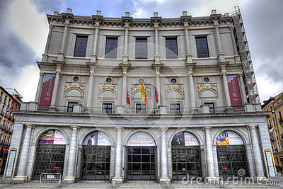 Facade of Royal Palace in Madrid Editorial Photo