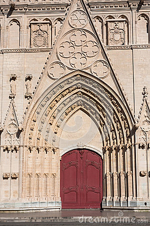 Facade of Saint Jean cathedral in Lyon, France