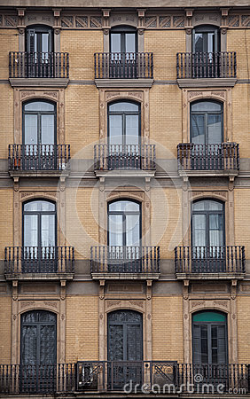 Free Facade With Windows And Balconies, Historic Building. Barcelona City. Spain Royalty Free Stock Images - 52699029