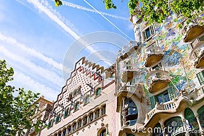 Facades of Casa Batllo and Ametller in Barcelona
