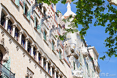 Facades of Casa Batllo and Ametller in Barcelona