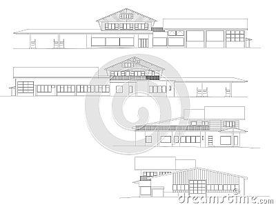 Facades of an shopping center in CAD
