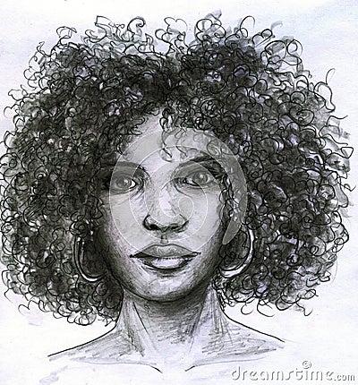 Face africana da menina