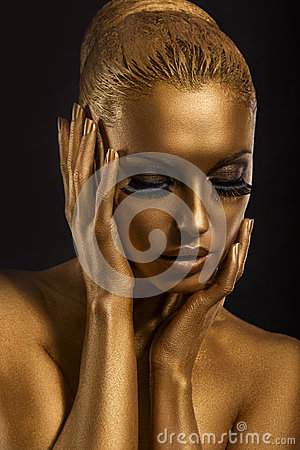Free Face Art. Fantastic Gold Make Up. Stylized Colored Woman S Body Stock Photos - 29696143