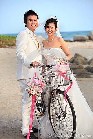 Face of asian Bride and groom
