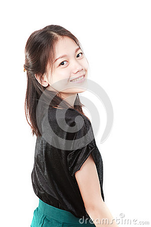 Face of asian woman in studio light