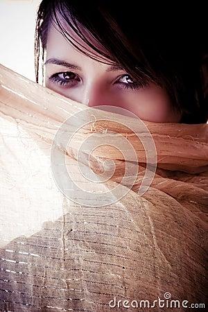 Face behind veil