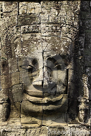 Face carved in the walls at Angkor Wat