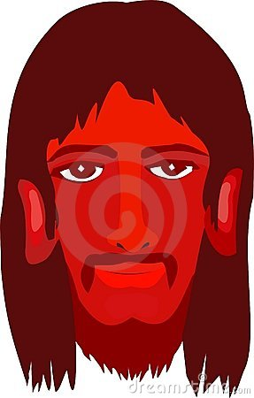 Face of Christ in red hues