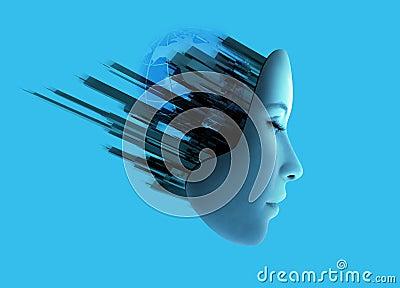 Face de Womans com tecnologia abstrata.