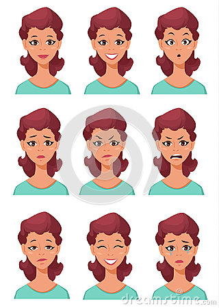 Free Face Expressions Of A Woman. Different Female Emotions Set. Stock Photography - 95522482