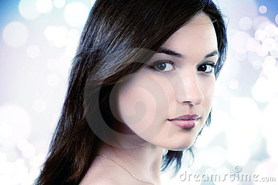 Face of feminine pure young woman
