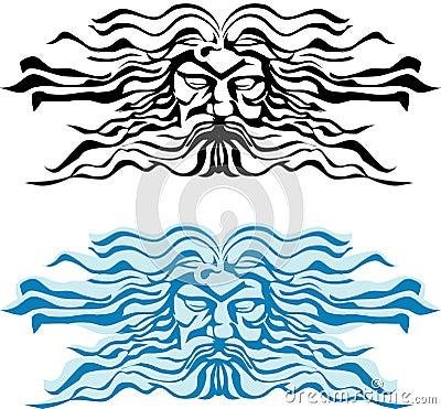 Face god of the seas, Poseidon or Neptun.