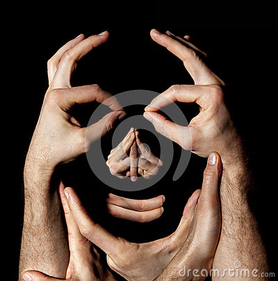 Free Face Hands Concept. Realty Manipulation Illusion. Black Background Stock Photography - 51298102
