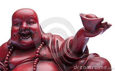 Face of Happy Buddah with Offering in Hand.