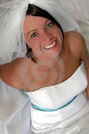 Face of a happy young bride