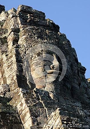 Face of Jayavarman VII. Temple of Bayon, Cambodia