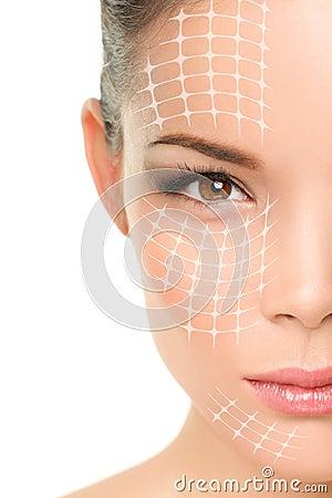 Free Face Lift Anti-aging Treatment - Asian Woman Stock Photos - 49147173