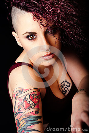 Free Face Makeup And Tattoos, Punk Girl Make-up. Hair Shaved Stock Photography - 66337612