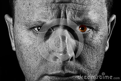 Face of man closeup with different textures