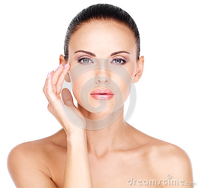 Free Face Of A Beautiful Woman Who Touching Skin Near Eyes Stock Image - 47444521