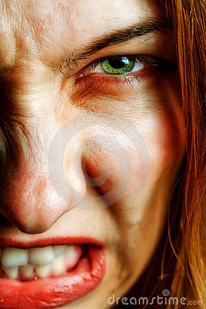 Free Face Of Angry Woman With Evil Scary Eyes Royalty Free Stock Images - 11030659