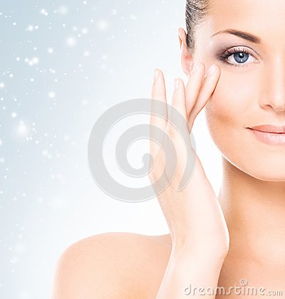 Free Face Of Attractive And Healthy Woman Over Seasonal Christmas Background With A Winter Snowflakes. Healthcare, Spa, Makeup And Face Stock Image - 103917771