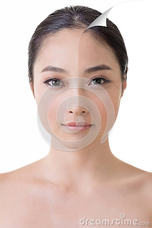 Free Face Of Beautiful Asian Woman Before And After Retouch Royalty Free Stock Photos - 38245588