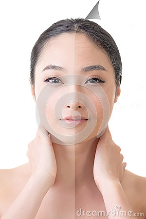 Free Face Of Beautiful Asian Woman Before And After Retouch Royalty Free Stock Image - 41464706