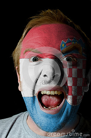 Free Face Of Crazy Angry Man Painted In Colors Of Croatia Flag Royalty Free Stock Photography - 28436157
