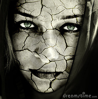 Free Face Of Sad Woman With Cracked Dry Skin Stock Photos - 7889393