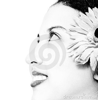 Face Of A Pretty Young Girl In Black And White