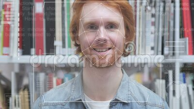 Face Recognition, Security Access Denied to Redhead Man stock video