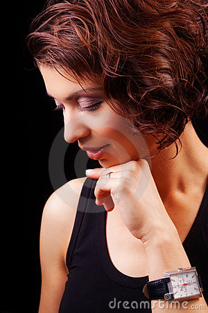 Face of sensual graceful middle aged woman