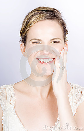 Face Of A Smiling Bride With Perfect Makeup