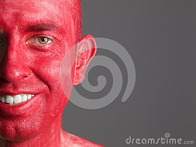 Face smiling man makeup red