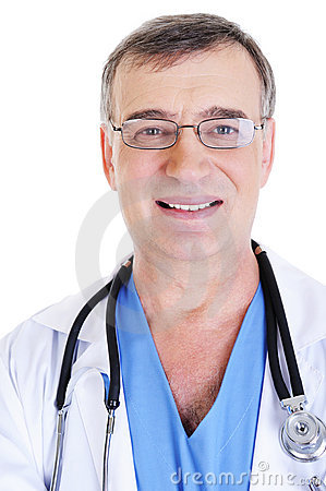 Face of successful male doctor
