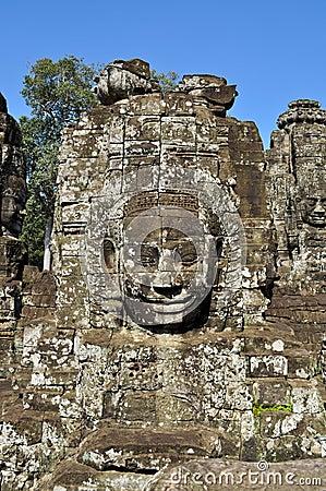 Face-tower at Bayon Temple in Angkor Thom