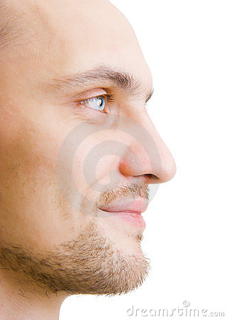 Face unshaven young man in profile