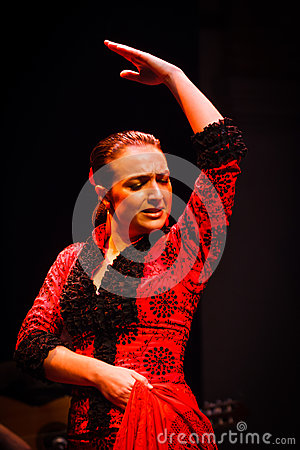 Face and upper body Flamenco dancer in red dress Editorial Image